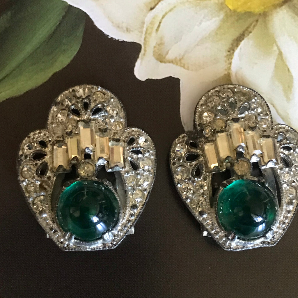 1920s Art Deco Green Rhinestone Dress Clips