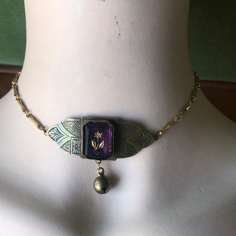 Antique Brass Choker Collar Necklace