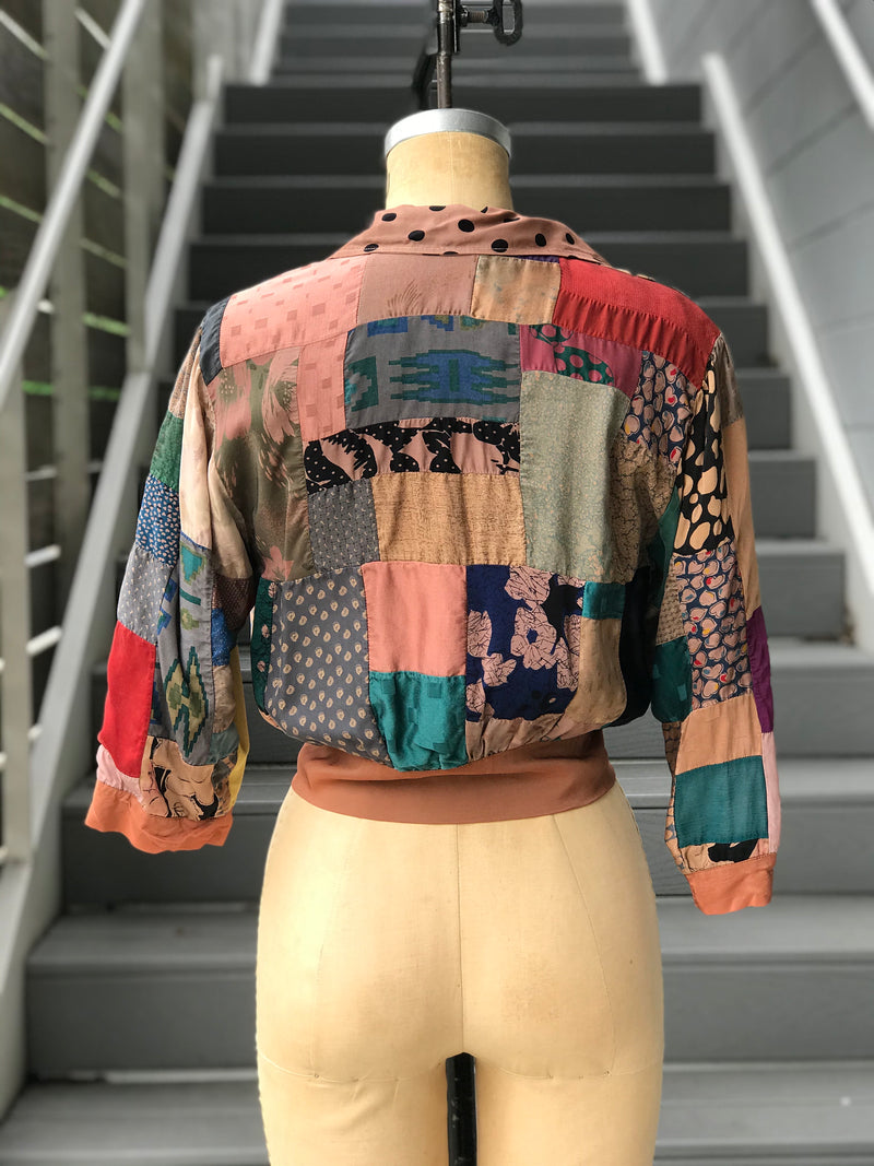 Silky Brown Patchwork Cropped Jacket