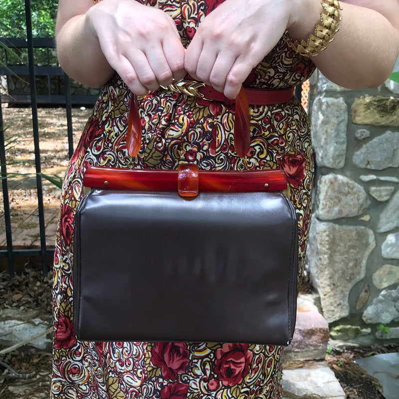 1960s Brown Vinyl Handbag + Lucite Handle