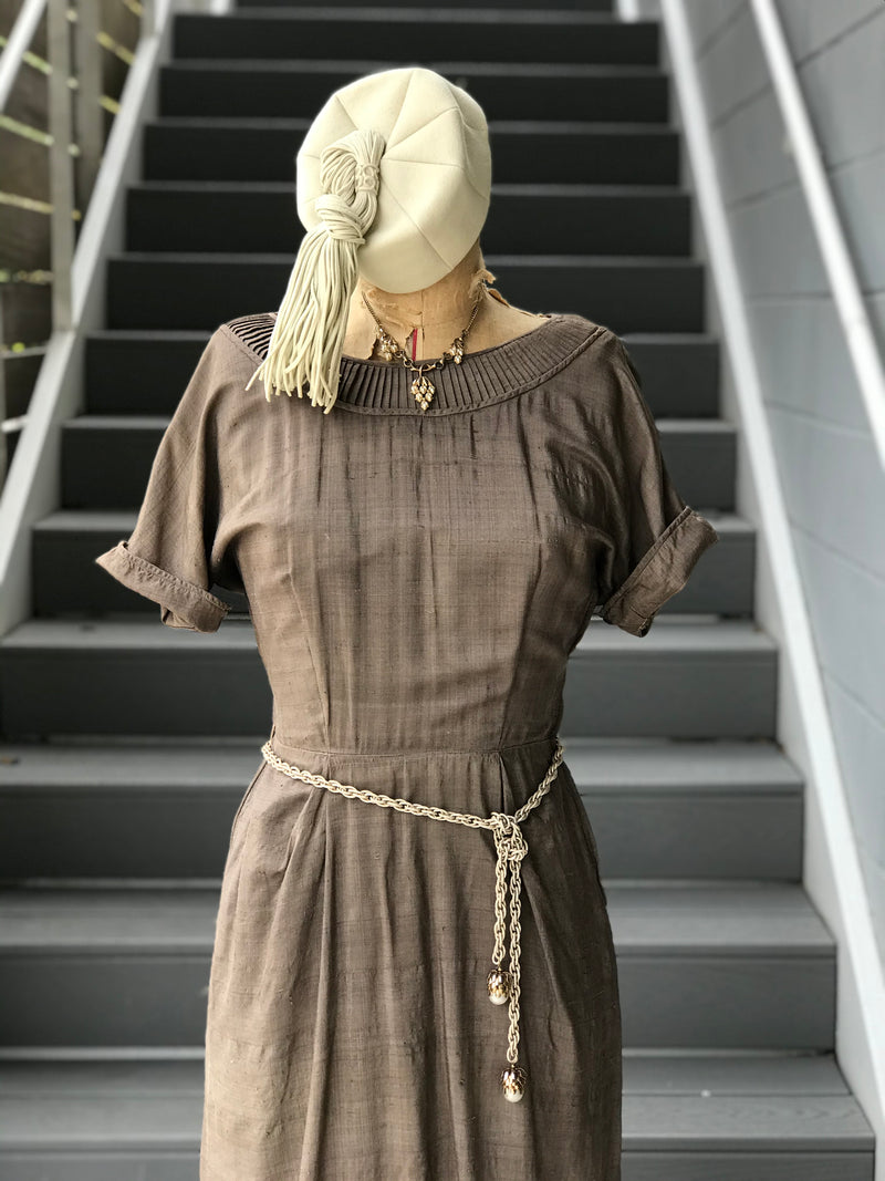 1950s Raw Silk Lamella Gill Mushroom Dress