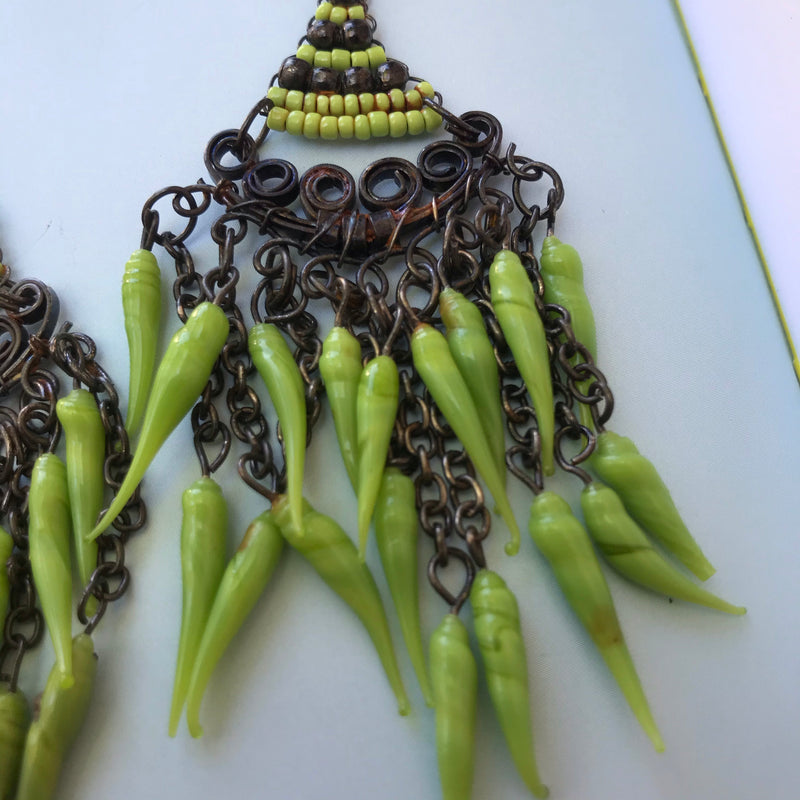 Green Hot Chili Pepper Earrings