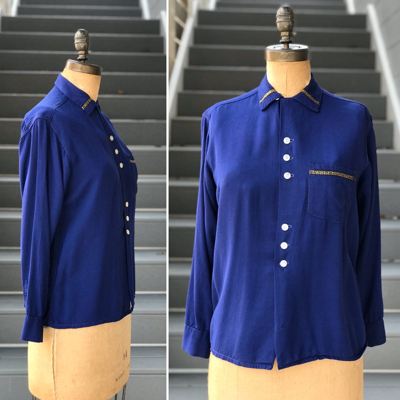 1950s Diamond Point Velvet Blouse
