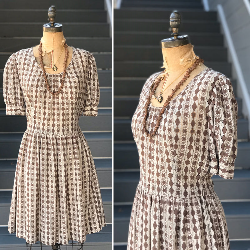 1950s Tan + Taupe Aztec Day Dress