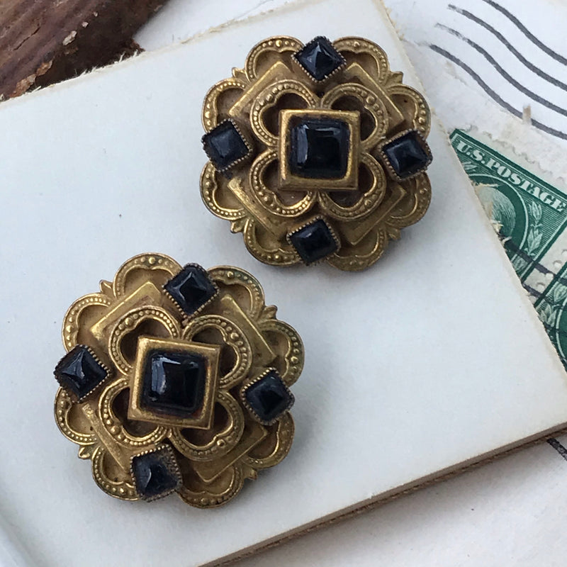 1940s Brass and Jet Black Clip Earrings