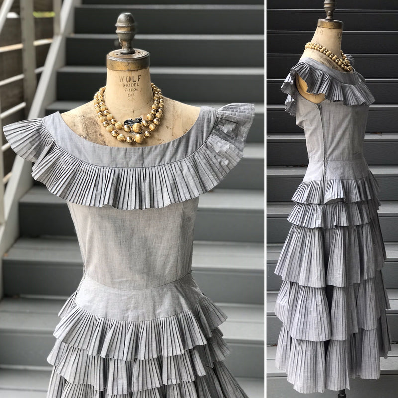 1950s Steel Chambray Accordion Pleated Tiered Dress