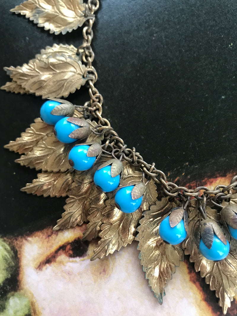 "1940s ""Miriam Haskell"" Turquoise Glass + Leaf Necklace"