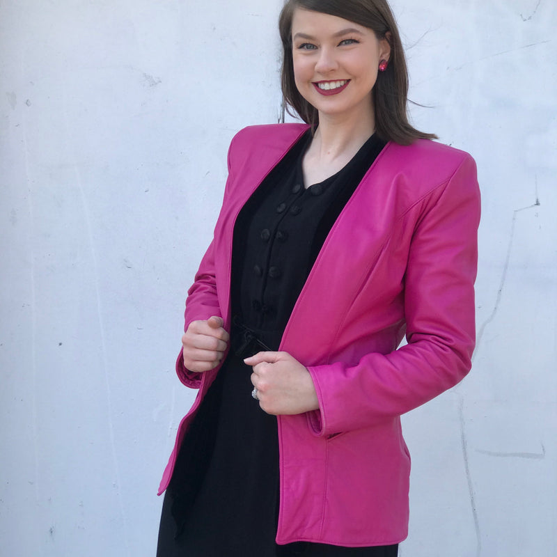 Reserved. 1980s Firenze Hot Pink Leather Jacket