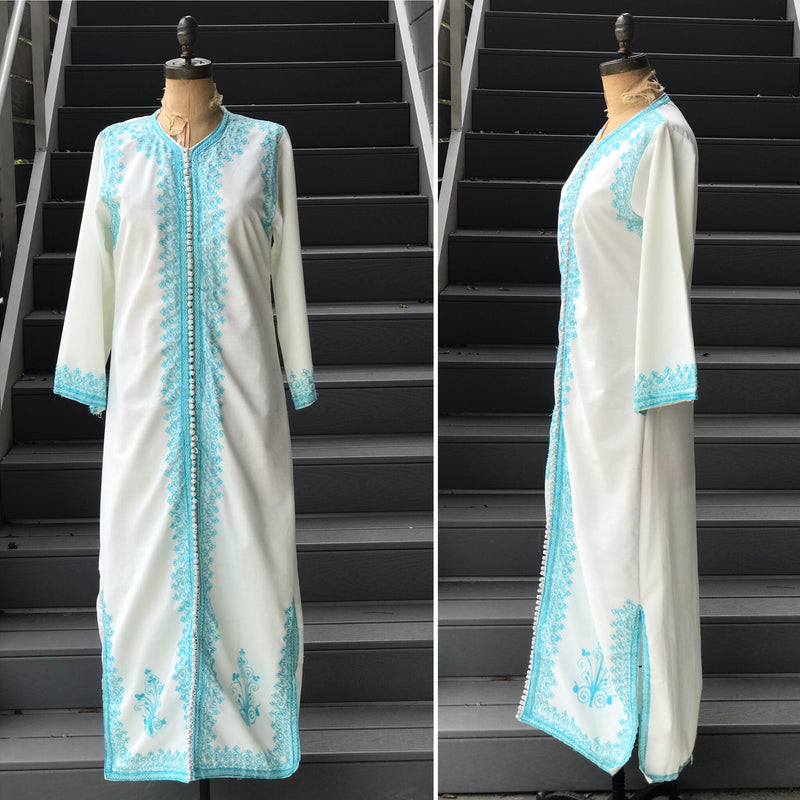 1970s Sky Embroidered Kaftan Maxi Dress