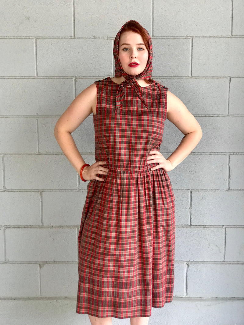 "1980s ""Nipon Boutique"" Plaid Dress + Bandana/Scarf"