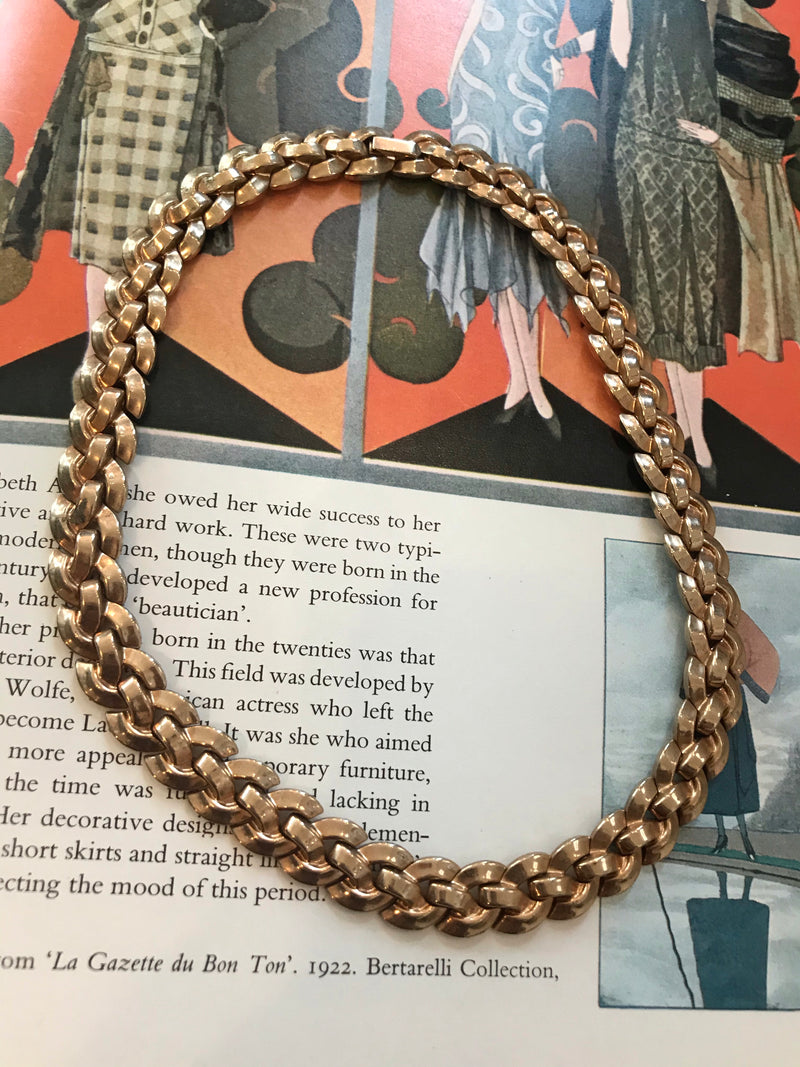 "Vintage ""Trifari"" Gold Basket Collar Necklace"