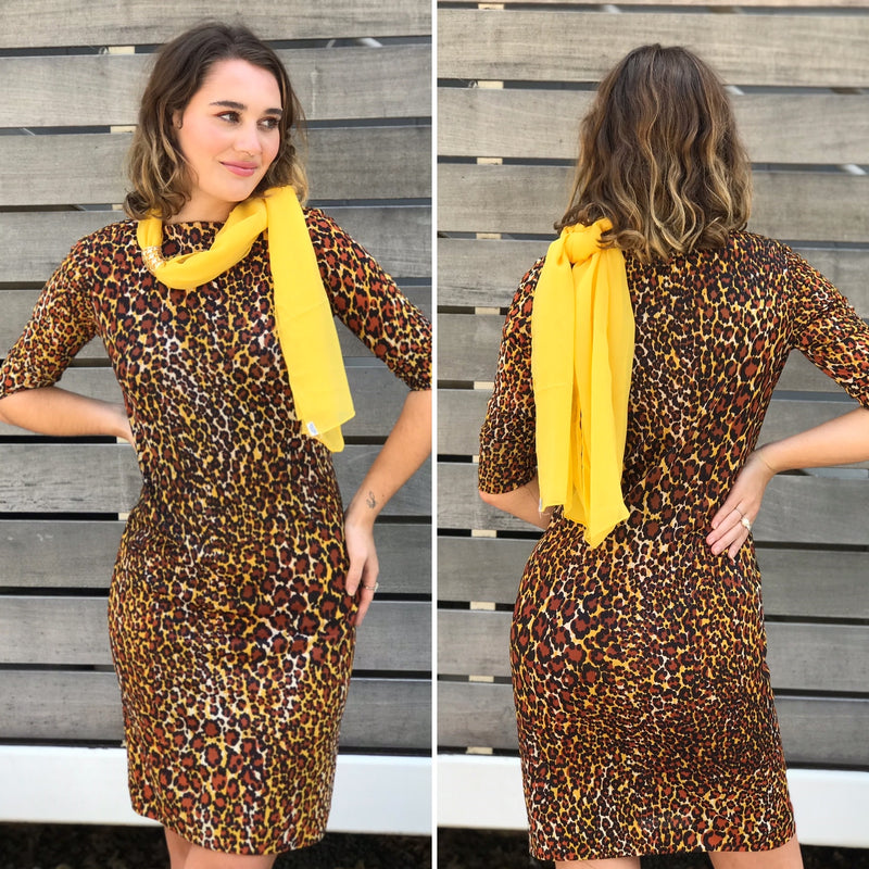 1970s Cheetah Print Wiggle Dress