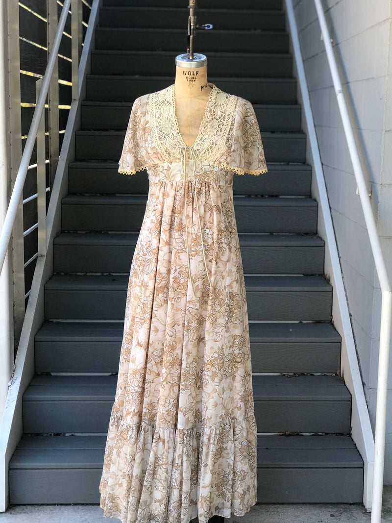 1970s Sand and White Floral Prairie Dress