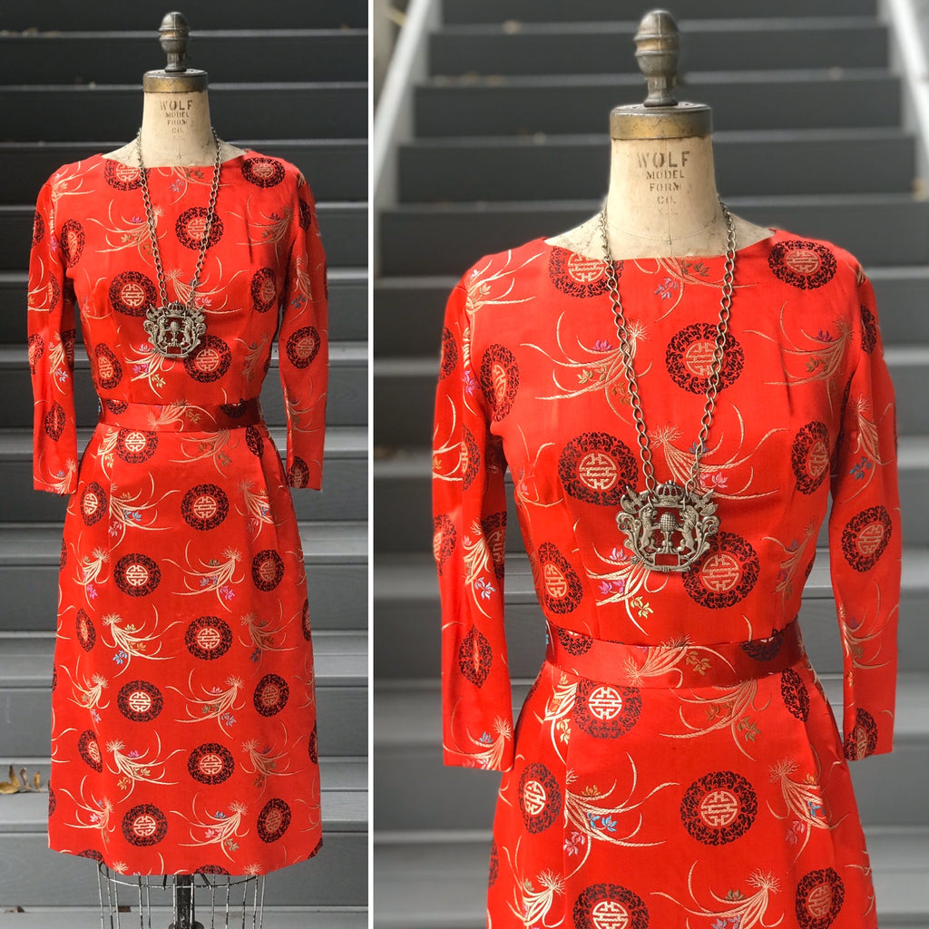 "1960s Satin ""Shou"" Blossom Satin Dress"
