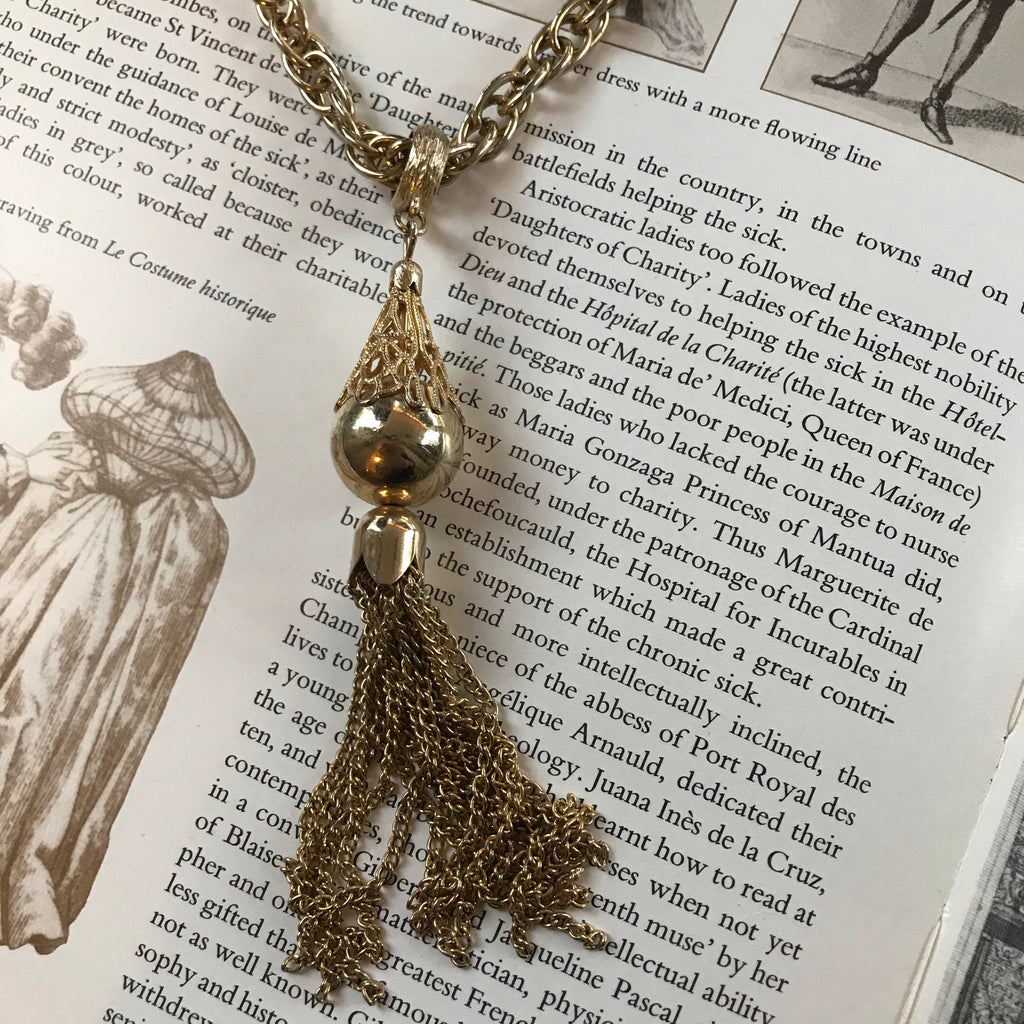 Vintage Golden Globe Tassel Drop Necklace