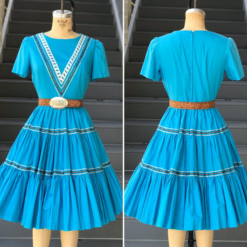 1950s Bright Blue Patio Dress with Silver Rick Rack