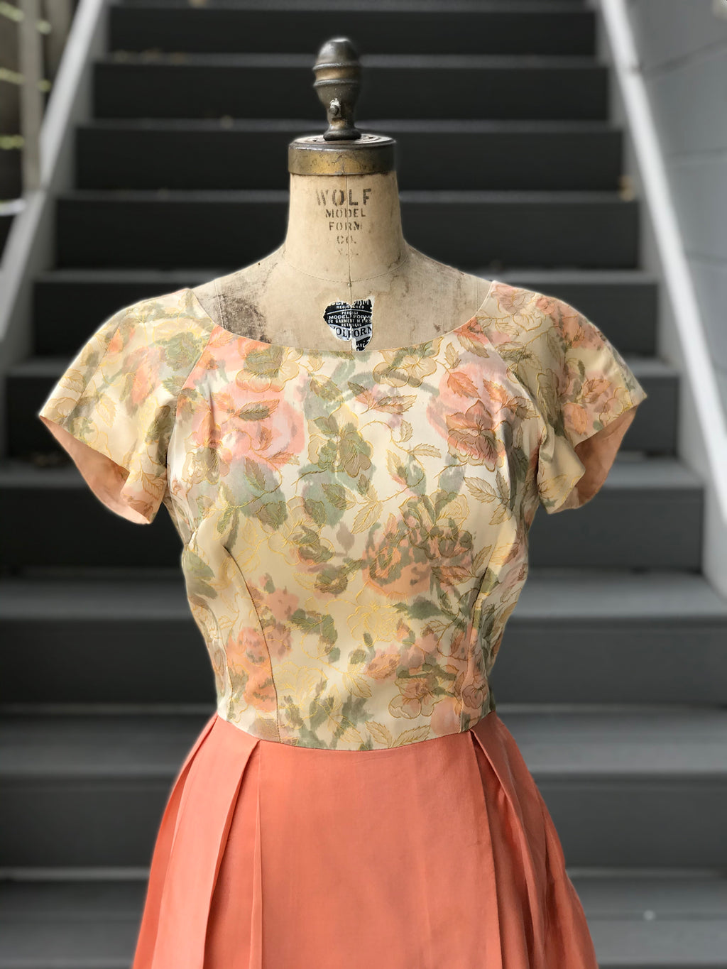 1950s Sweet Maple + Floral Silk Dress