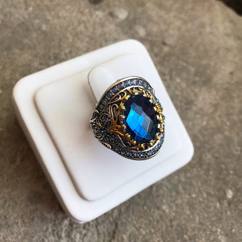 Blue Rhinestone Statement Ring
