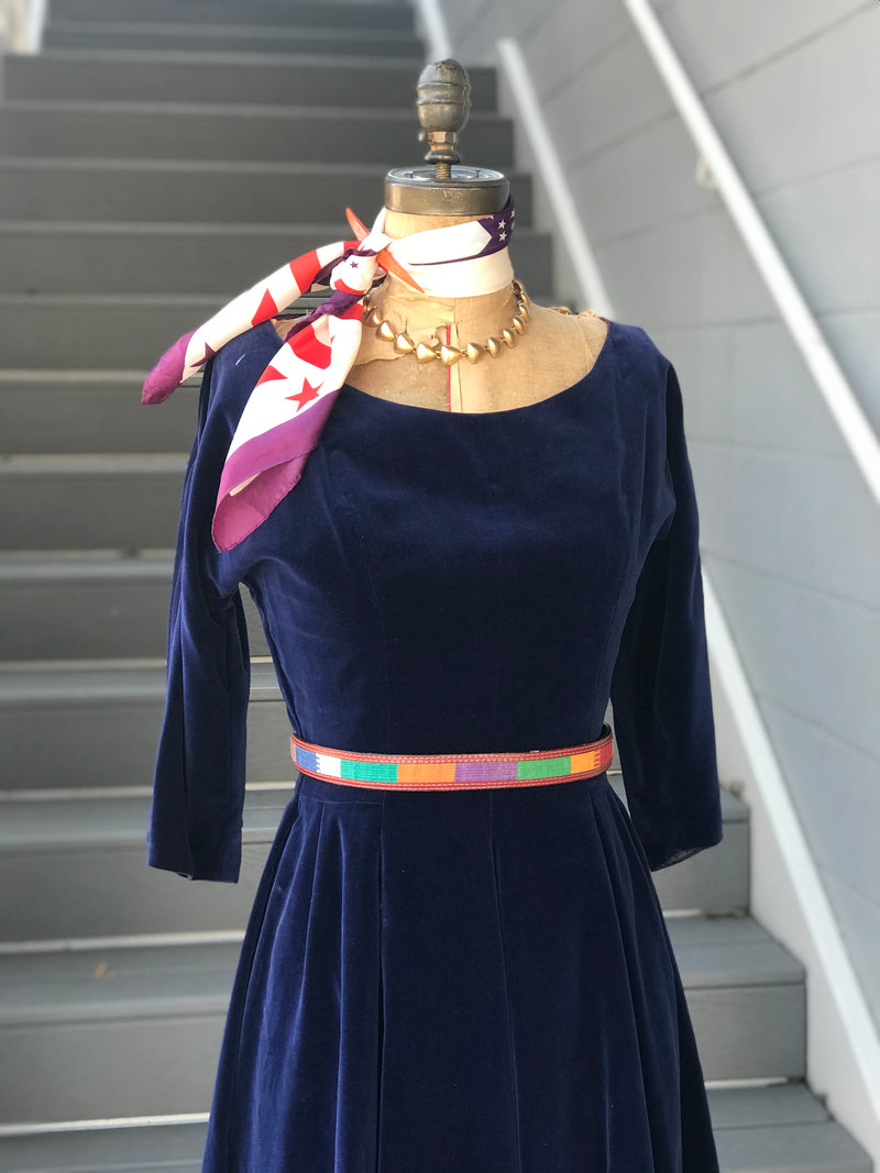 1950s Lapis Velvet Fit + Flare Dress