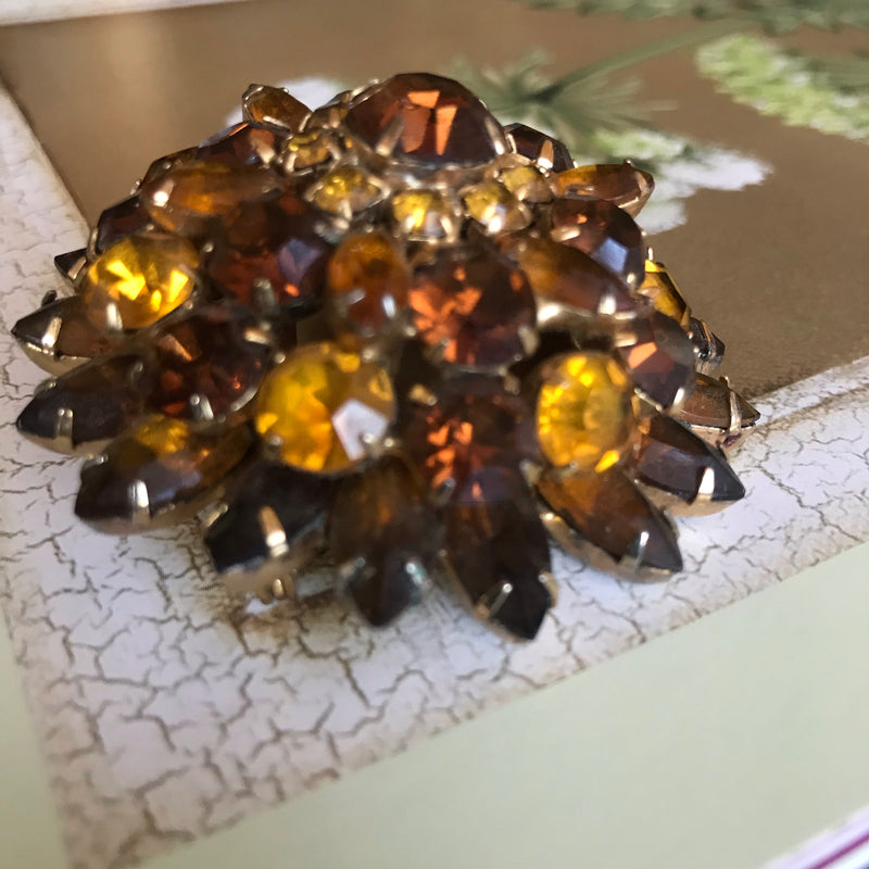 Three-Dimensional Brown and Amber Rhinestone Brooch