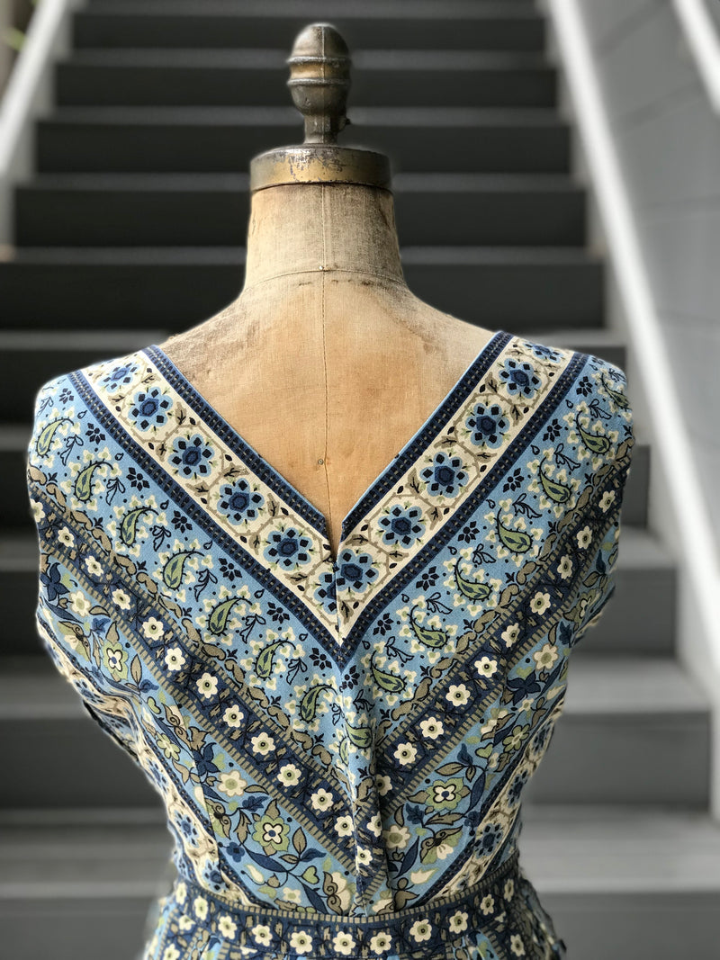 1950s Blue + Cream Willow Mosaic Printed Blouse + Skirt *SET*