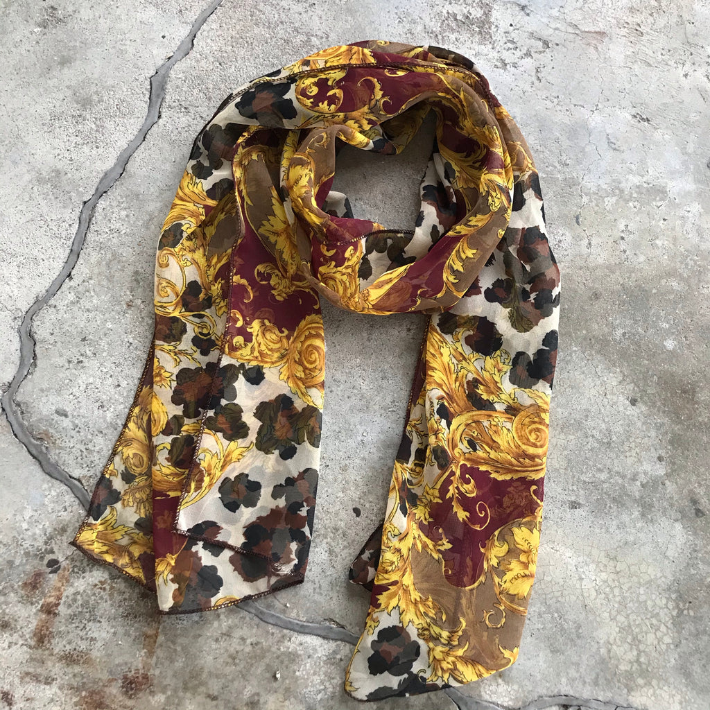 Vintage Acanthus + Big Cat Elongated Scarf