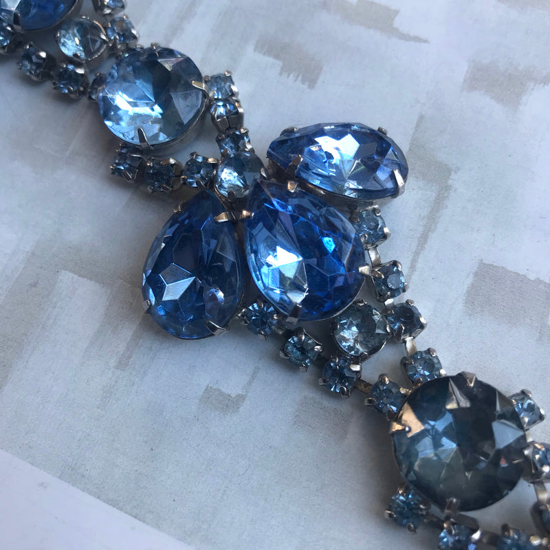 Shades of Ice Blue Rhinestone Bracelet