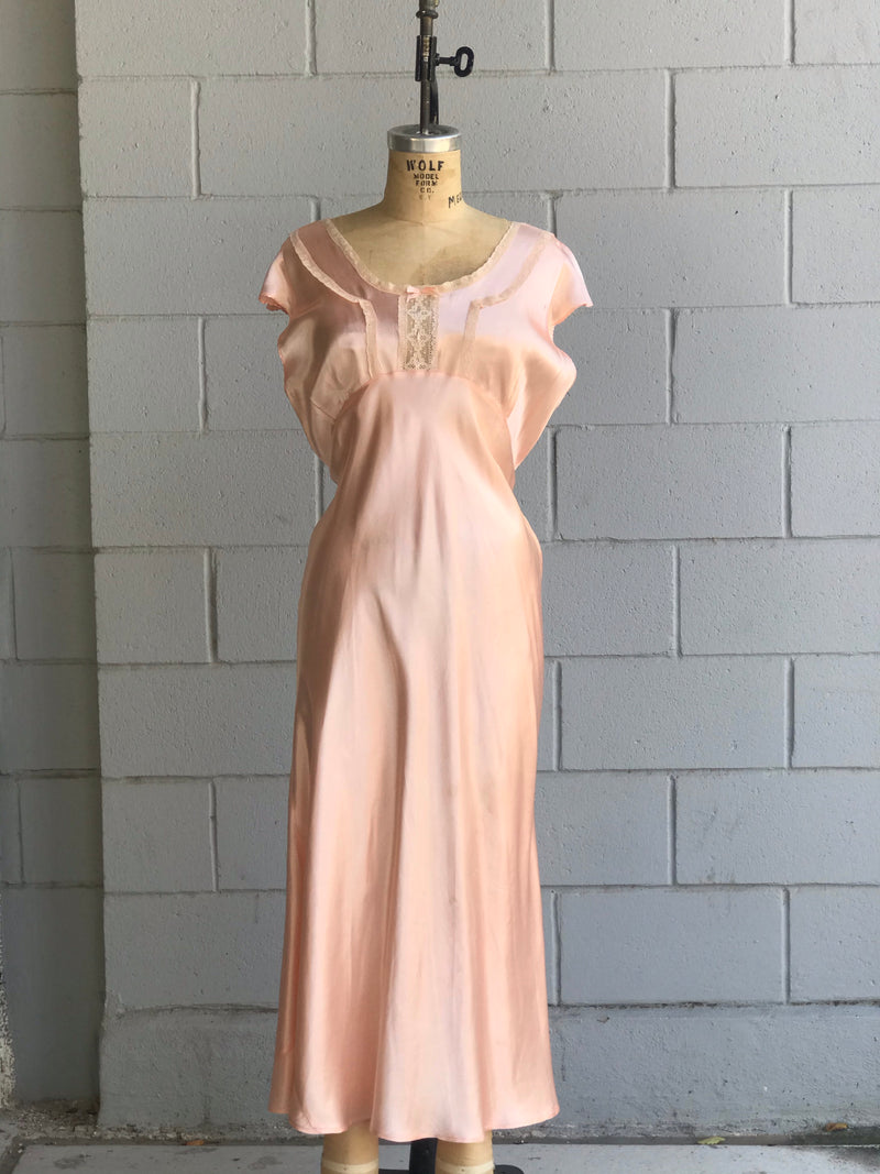 1940s Bias Cut Peach Slip Dress