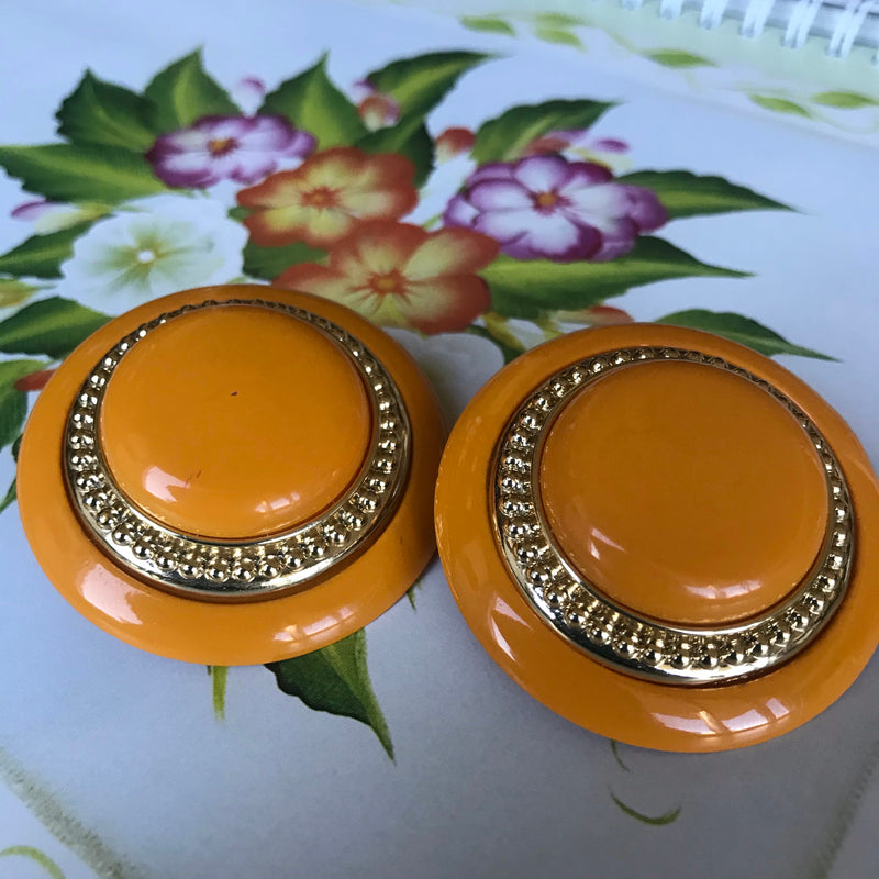 Orange Clip Earrings