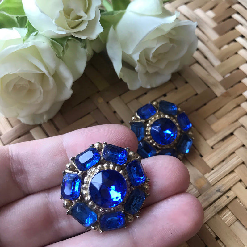 Royal Blue Rhinestone Earrings