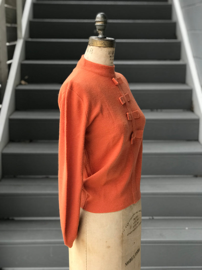 "1960s Orange Fox ""Spuncraft"" Flat Bow Yoke Pullover"