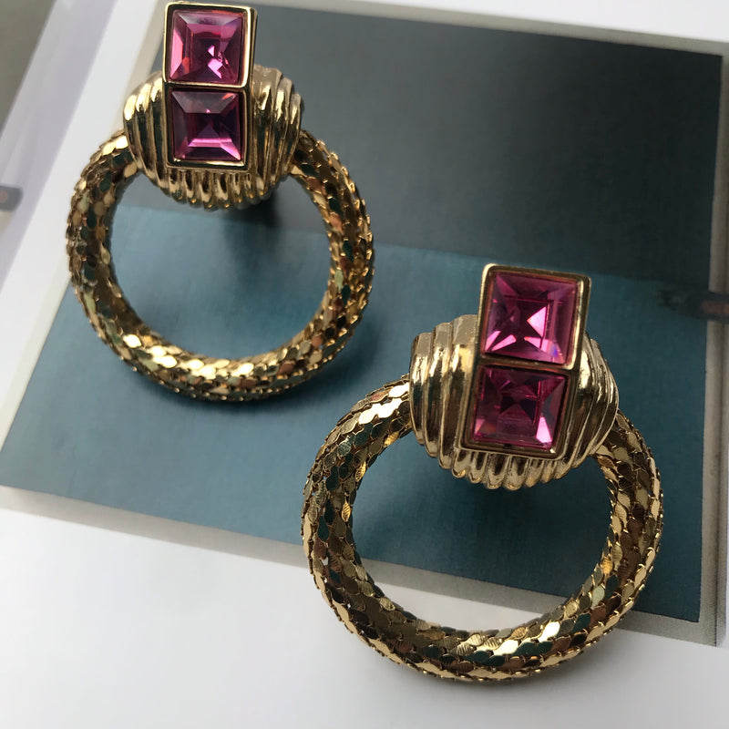 1980s Whiting and Davis Gold Mesh + Pink Rhinestone Earrings