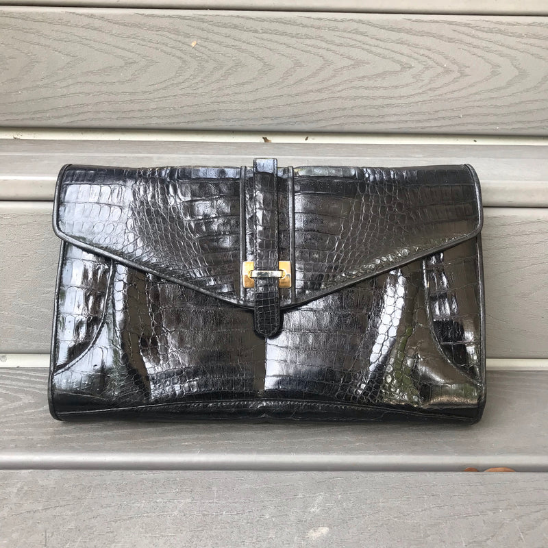 1980s Black Lizard Clutch Purse