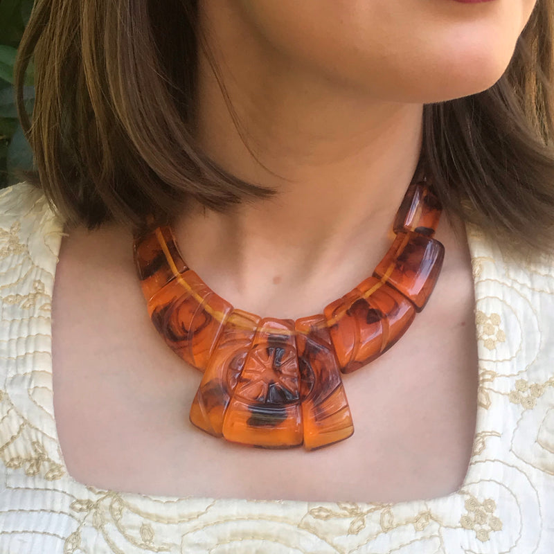 1980s Etched Plastic Root Beer Necklace