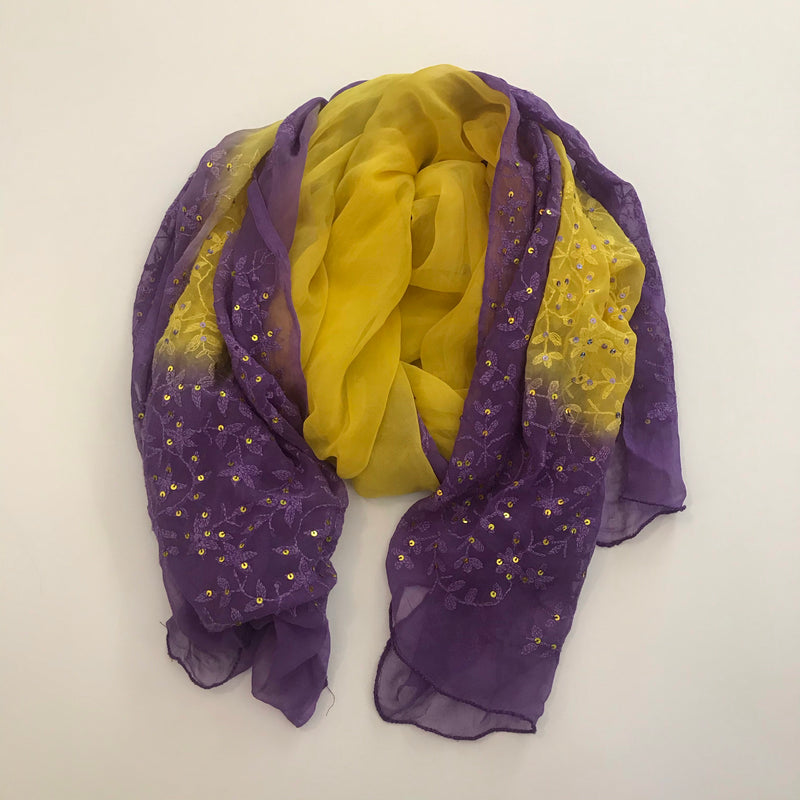 Yellow and Purple Indian Sheer Chiffon Sequin Scarf