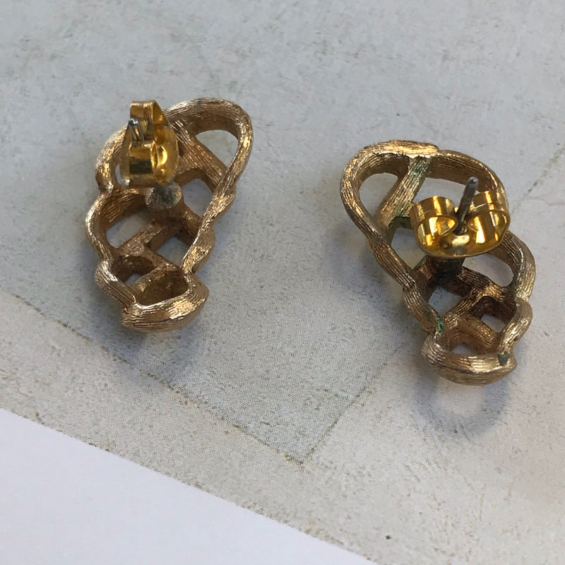 Gold Woven Stud Earrings