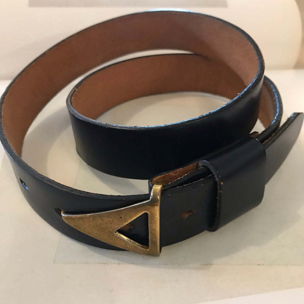 1970s Black Leather Belt with Brass Buckle
