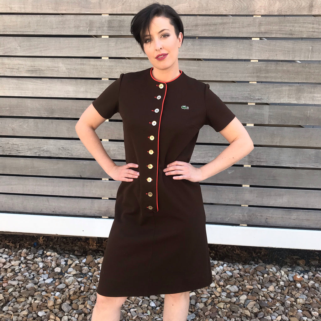1970s David Crystal Brown Short Sleeve Poly Knit Dress