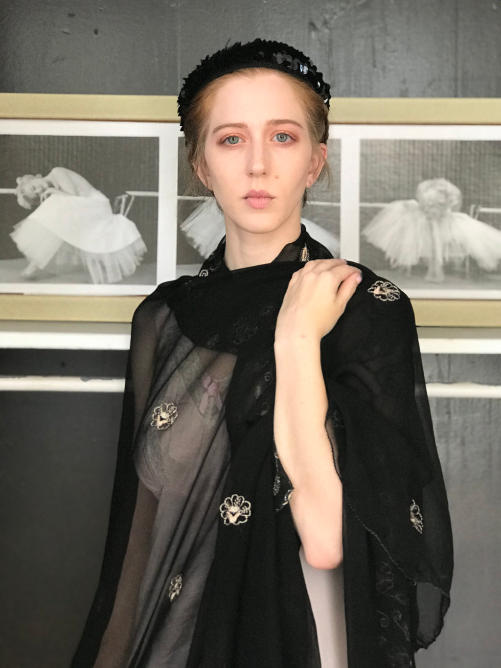 Embroidered Black Sheer Chiffon Scarf
