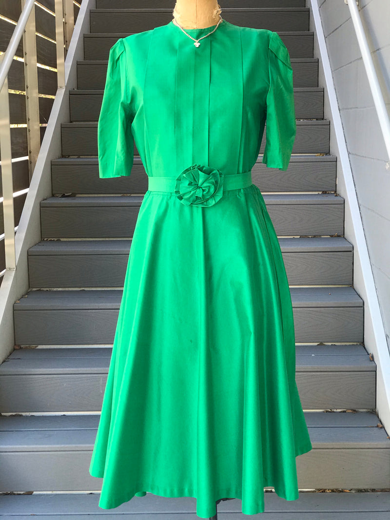 1950s Kelly Green Satin + Rosette Dress