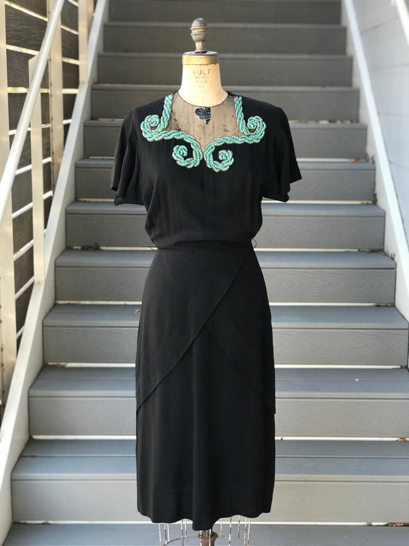 1940s Aqua Scrolls Black Rayon Dress