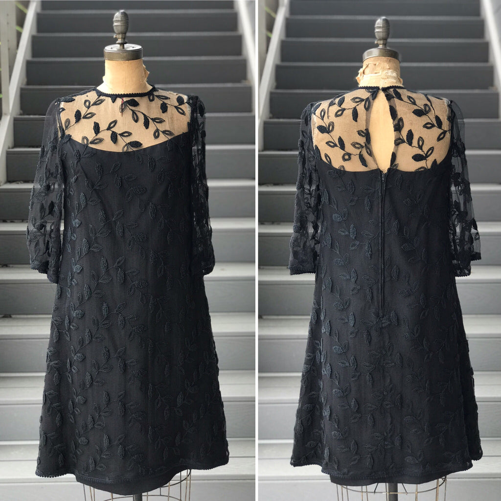 Reserved. 1970s Embroidered Black Chiffon Shift Dress