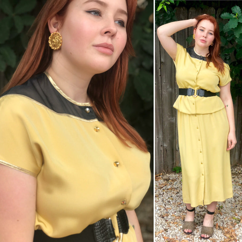 1970s Goldenrod Lace Back Cocoon Shirtdress