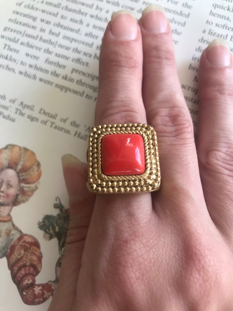 Statement Matte Gold + Coral Square Set Ring