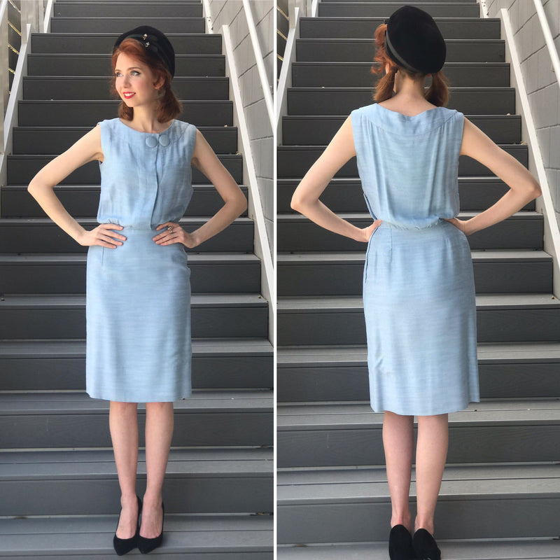 1960s Baby Blue Raw Silk Sheath Dress