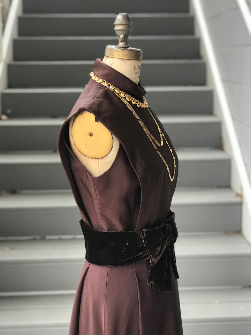 "1960s ""Travilla"" Chocolate Cocktail Dress"
