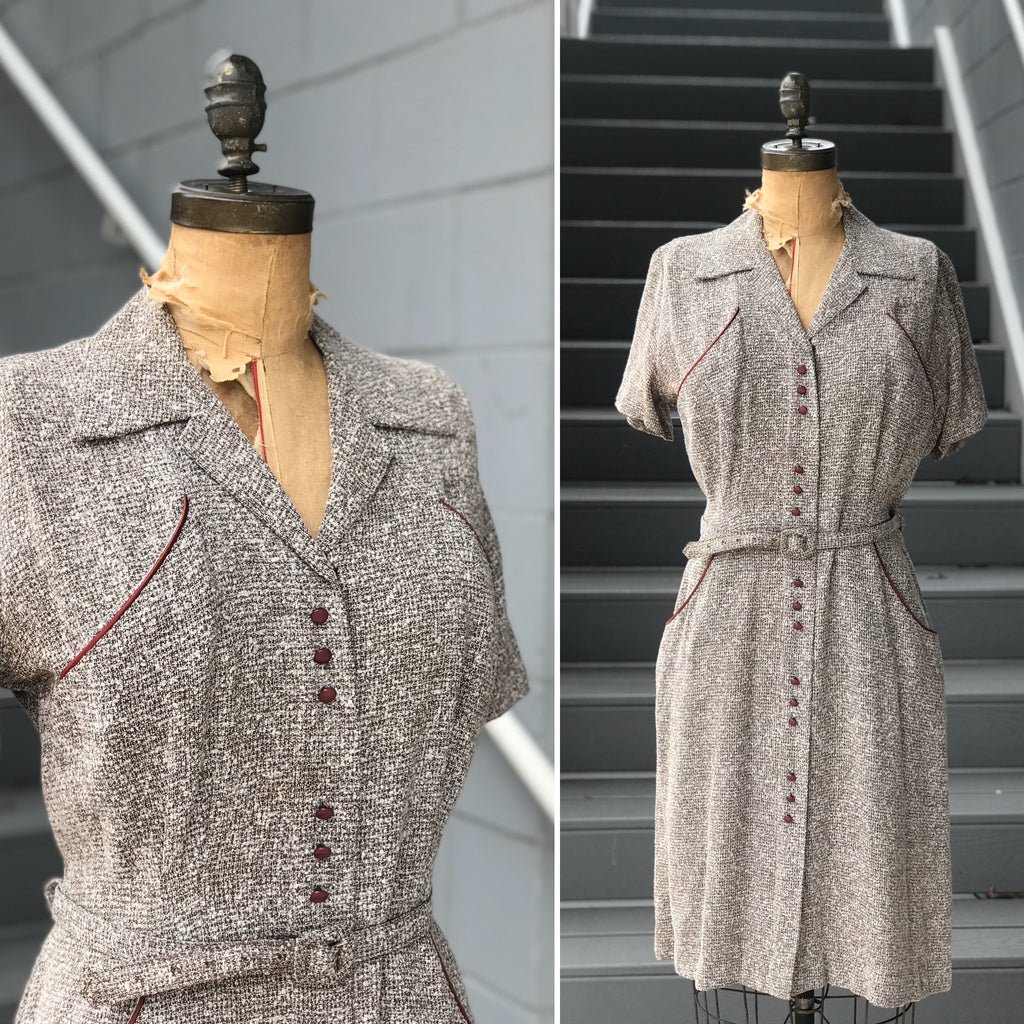 1950s Cinnamon Sugar Pilled Pocket Dress