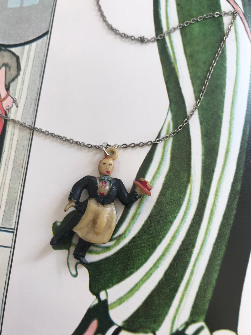 Vintage Resin Waiter Charm Necklace