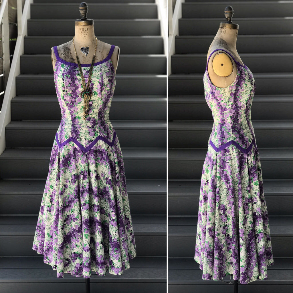 1950s Purple Floral Pointed Dropwaist Sundress