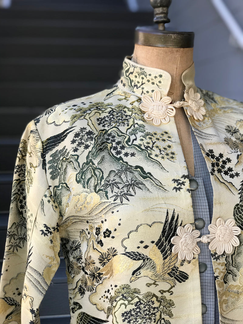 1960s Falconry Brocade Smokers Jacket